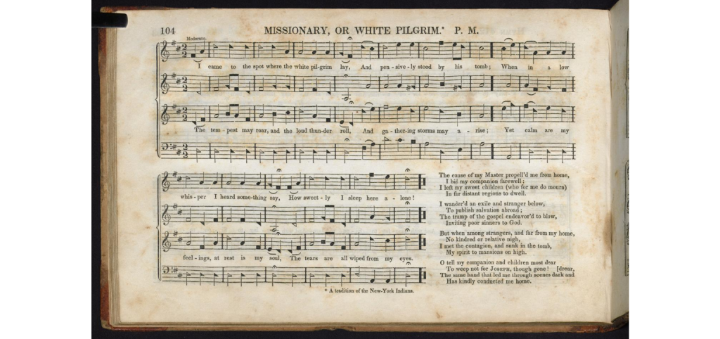 Sheet music of a shape-note hymn, Missionary