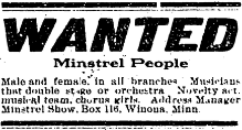 Advertisement to recruit minstrels