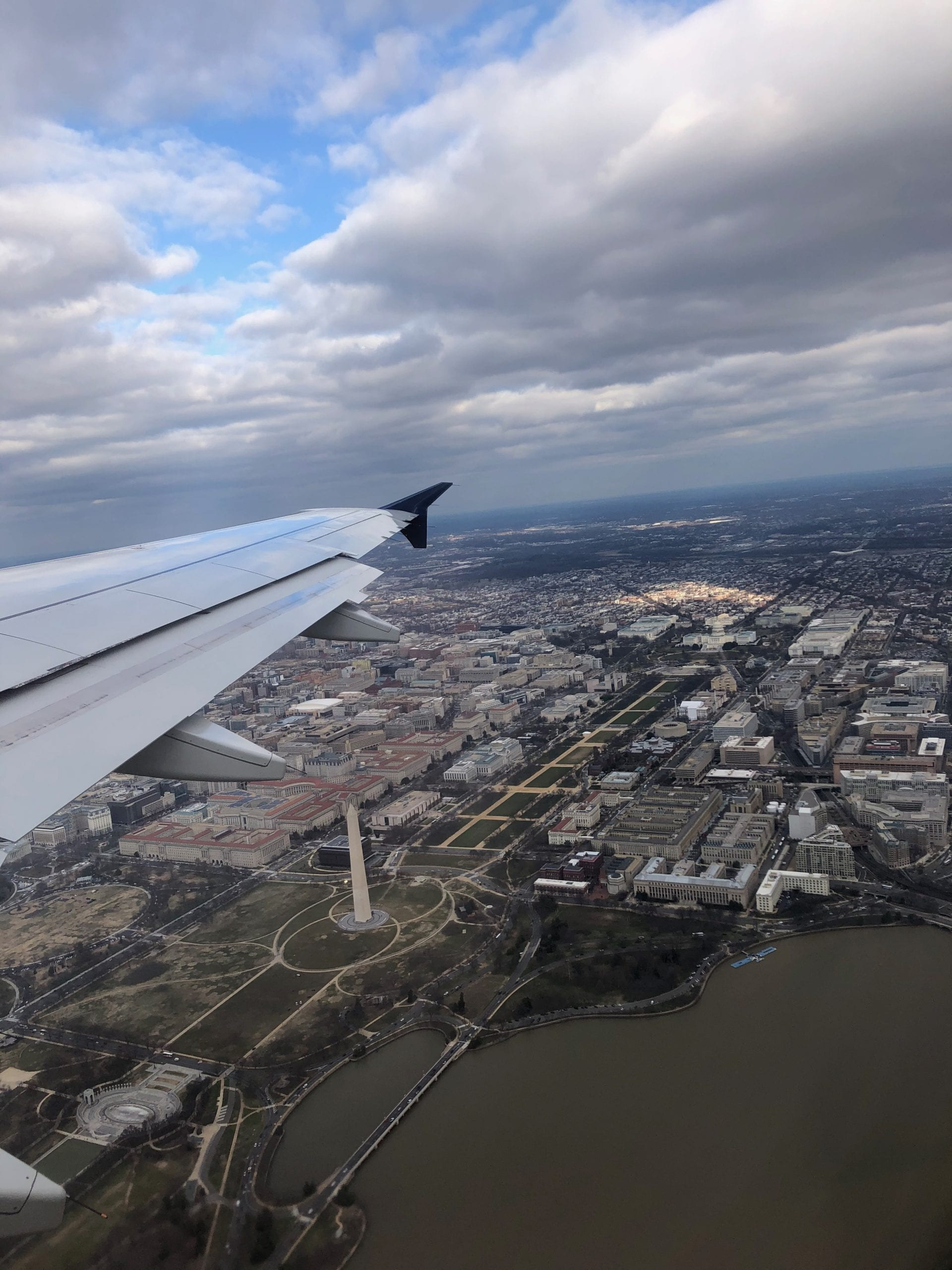 The Washington Monument and National Mall from the view of an airplane