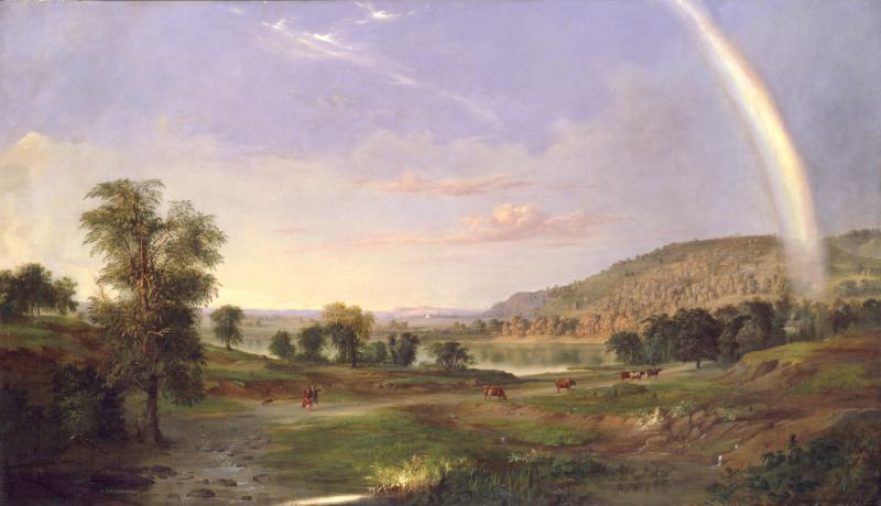 A painting with a rainbow on the right side landing on a landscape with grass and green trees