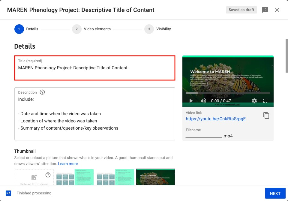 Step 1 to upload YouTube content: title instructions