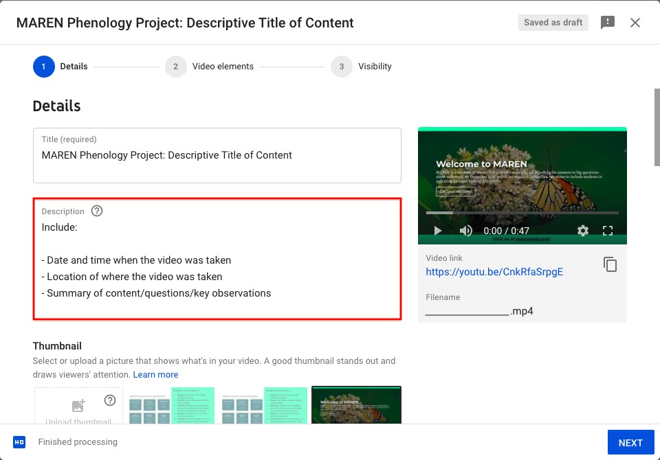 Step 2 for YouTube content upload