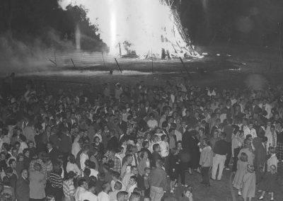 Students at the bonfire.