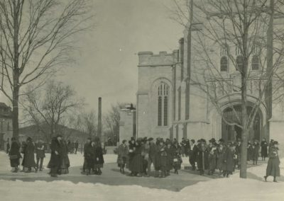 Students Leaving the Chapel in the 1930s