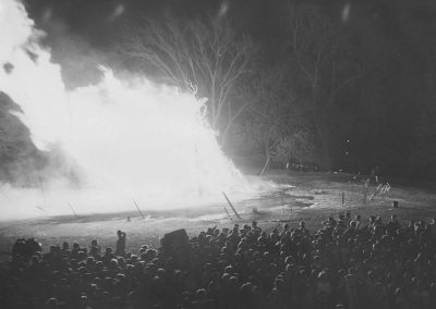 Students watching the bonfire.