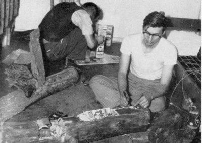 Students making a fake log.