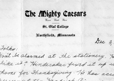 Letter on the Mighty Caesars stationary.