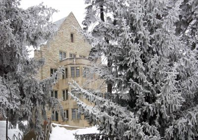 Thorson Hall in the snow.