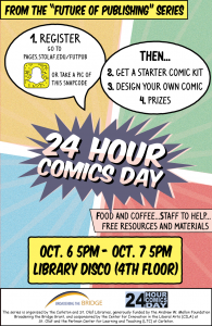 Poster for 24-Hour Comics day, October 7, in Rolvaag Library
