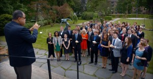 Anton Armstrong '78 leads choir members in an impromptu performance in Oslo.