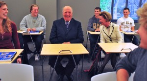Their Majesties King Harald V and Queen Sonja enjoy a visit to a Norwegian language classroom during the royal couple's U.S. tour in 2011.