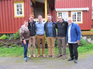David Hastings '14, Johnny Bauman '13, Christian Weeks '13, Ben Andreae '13 with host parents in Snåsa.