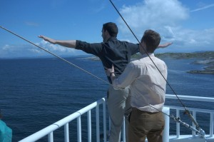 St. Olaf Choir members Brett Eisenbeis '13 and Christian Weeks '13 act out a scene from Titanic while enjoying the beautiful sights.
