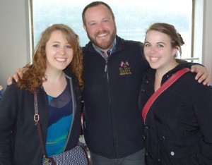 Kevin Stocks '02, here with Katie Jenks '13 and Kelsey Hall '13 during a ferry ride, sang first tenor in the St.Olaf Choir from 1999-2002.