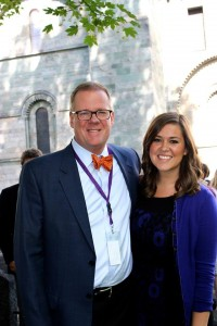 Michael Kyle '85 and daughter Laura Kyle '13 outside of Nidaros Cathedral on Father's Day.