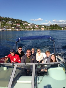 As a special treat, friends of Paul Mori '13 relax on a boat ride back to Bergen town center.