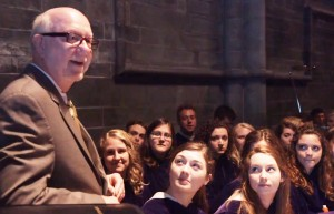 President Anderson speaks to the Choir