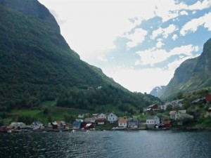 A small village meets the Gudvangen Fjord between Voss and Loen, Norway.