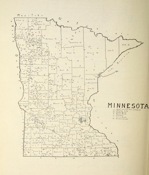 O. M. Norlie's map of Norwegian-Lutheran congregations in Minnesota.