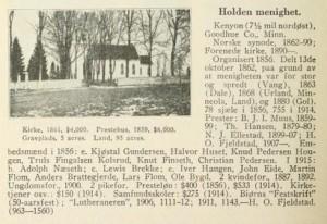 O.M. Norlie Entry for Holden Lutheran Church, Kenyon, MN