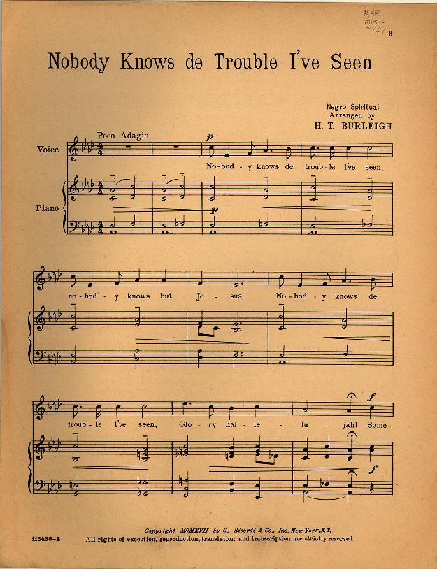 "H.T. Burleigh's setting of ""Nobody knows"" for voice and piano. http://library.duke.edu/digitalcollections/hasm_n0737/"