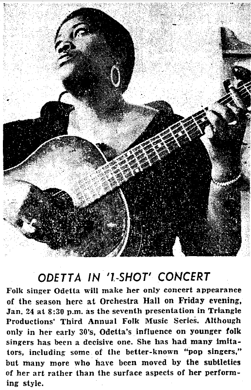 Odetta in the Chicago Defender
