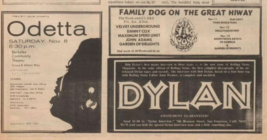 Ad for Odetta next to an ad for Bob Dylan in the Berkeley Tribe, 1969