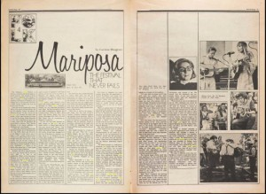 An article written about the Mariposa music festival featured in Rock Magazine. 1972, Vol. 3, Issue 10