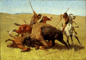 Painting of a buffalo hunt by Frederic Remington