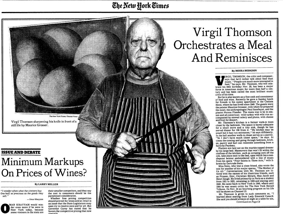 Virgil Thomson sharpening his knives in preparation for cooking