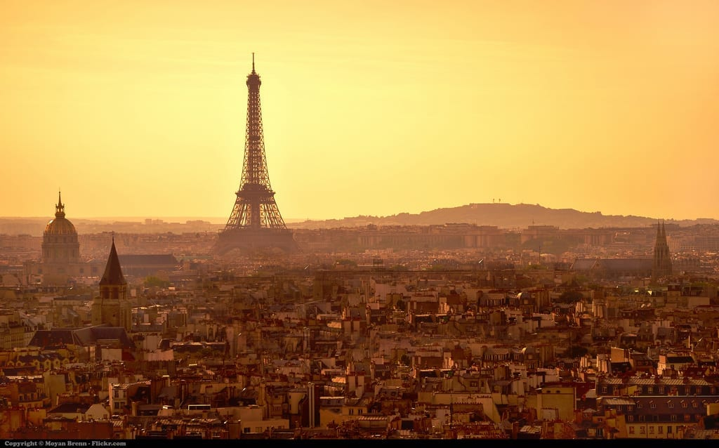 """Brenn, Moyan. """"Paris, sunset panorama from top of Notre Dame Cathedral."""" Flickr, accessed July 10, 2015. Web."""