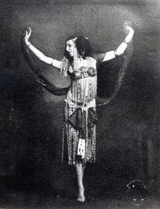 XJF342481 Ida Rubinstein in the role of Salome (b/w photo) by French Photographer, (20th century); black and white photograph; Private Collection; (add. info.: Ida Rubinstein (1885-1960) Russian born ballet dancer; she was taught by Mikhail Fokine and performed with the Ballets Russes; Salome costume designed by Leon Bakst); copyright unknown